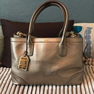 Ralph Lauren platinum hard sided leather satchel